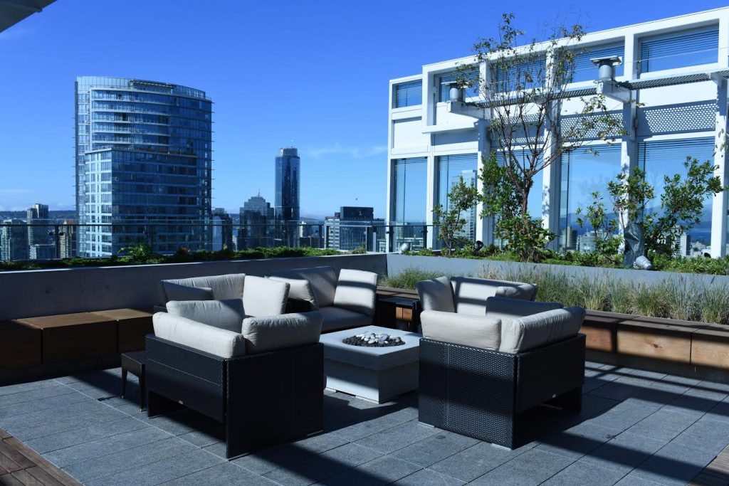 Telus Garden Building rooftop deck with Solus Elevated Halo firepit