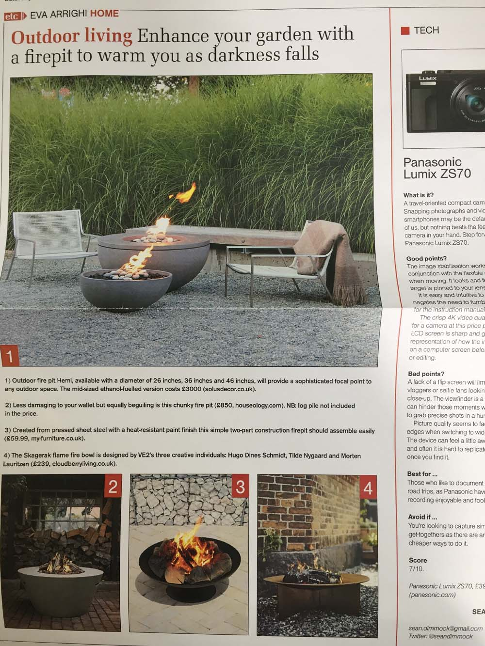 The Herald Newspaper, Glasgow story about Solus Fire pits, May 2017