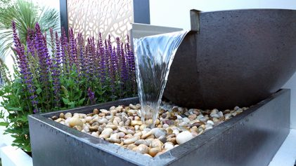 Solus Scupper with box water feature fountain