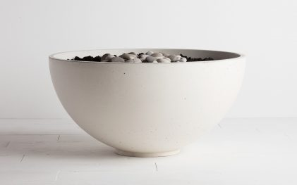 Solus hemi firebowl fire pit in Halva colour on white background