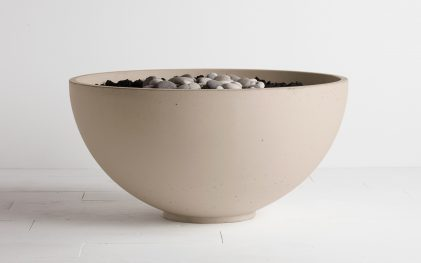 Solus hemi firebowl fire pit in Linen colour on white background