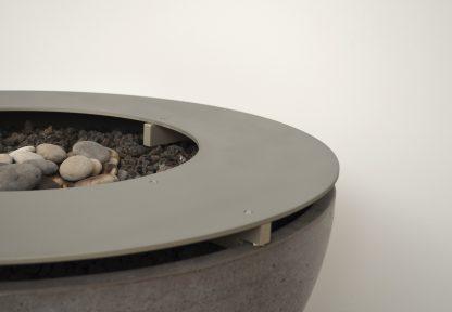 Solus metal ring top detail on hemi firepit