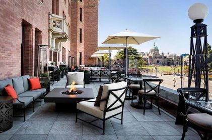 Solus Elevated Halo fire pit at Fairmont Empress Hotel, Victoria, Canada