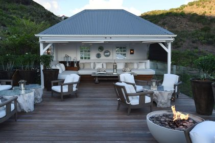 Solus Hemi fire pit lit on wood terrace at Hotel le Toiny on St Barths